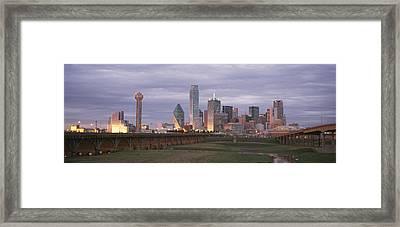 The Dallas Skyline At Dusk Framed Print by Richard Nowitz