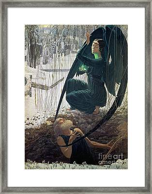 The Death And The Gravedigger Framed Print by Carlos Schwabe