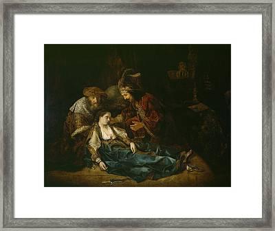 The Death Of Lucretia - Mid 1640s  Framed Print by Harmensz van Rijn Rembrandt