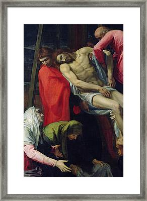 The Descent From The Cross Framed Print by Bartolome Carducci