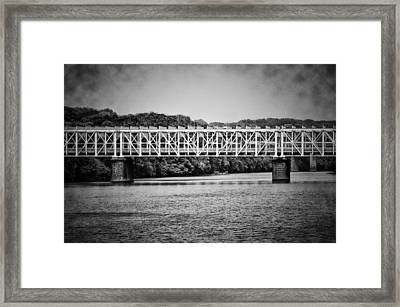 The East Falls Bridge In Black And White Framed Print by Bill Cannon