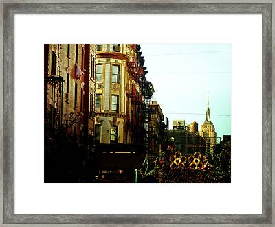 The Empire State Building And Little Italy - New York City Framed Print by Vivienne Gucwa