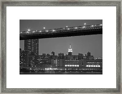 The Empire State Building Between The Brooklyn Bridge And The Fdr Drive Framed Print by Andria Patino
