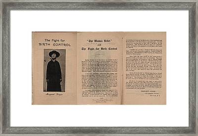 The Fight For Birth Control, A Pamphlet Framed Print by Everett