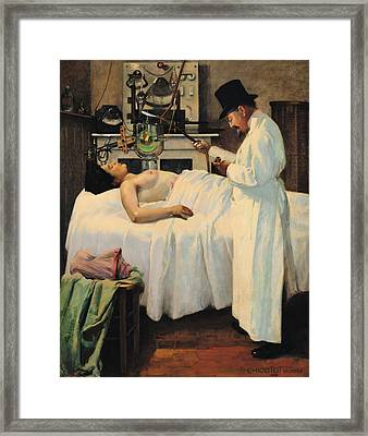 The First Attempt To Treat Cancer With X Rays Framed Print by Georges Chicotot