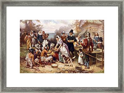 The First Thanksgiving, 1621, Pilgrims Framed Print by Everett