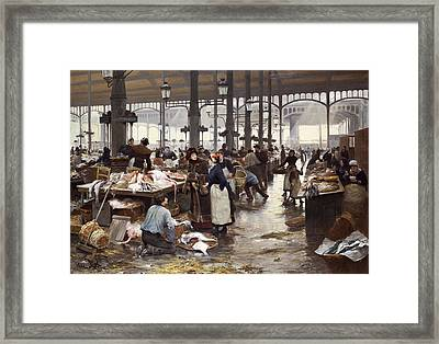 The Fish Hall At The Central Market  Framed Print by Victor Gabriel Gilbert