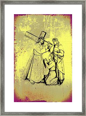 The Fourth Station Of The Cross - Jesus Meets His Mother Framed Print by Bill Cannon