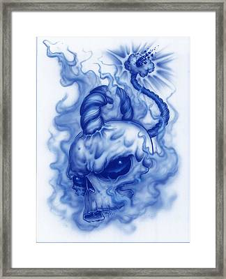The Fuse Is Lit In Blue Framed Print by Mike Royal