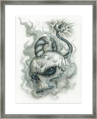 The Fuse Is Lit In Gray Framed Print by Mike Royal