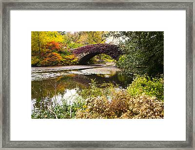 The Gapstow Bridge In Central Park In New York City Framed Print by Ellie Teramoto