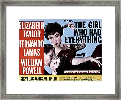 The Girl Who Had Everything, Elizabeth Framed Print by Everett