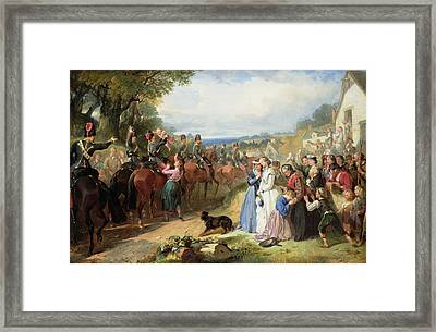 The Girls We Left Behind Us - The Departure Of The 11th Hussars For India Framed Print by Thomas Jones Barker