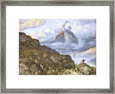 The God Thor And The Dwarves Framed Print by Richard Doyle