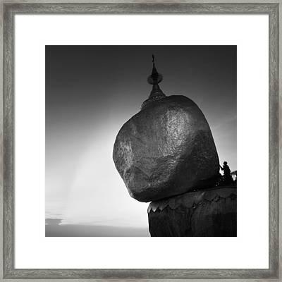 The Golden Rock Framed Print by Nina Papiorek