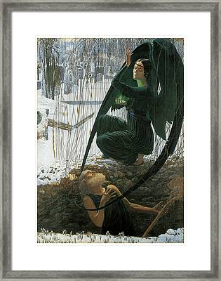 The Grave Digger's Death Framed Print by Carlos Schwabe