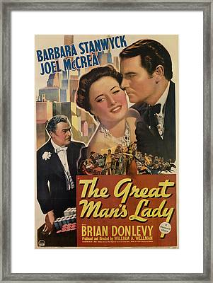 The Great Mans Lady, From Left, Brian Framed Print by Everett