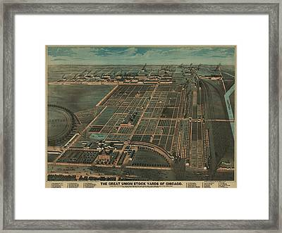 The Great Union Stock Yards Of Chicago Framed Print by Everett