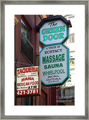 The Green Door San Francisco Framed Print by Wingsdomain Art and Photography