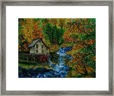 The Grist Mill In Autumn Framed Print by Tanna Lee M Wells