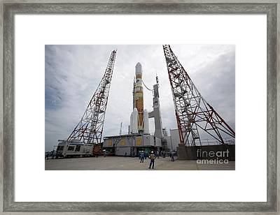 The H-iib Rocket On The Launch Pad Framed Print by Stocktrek Images