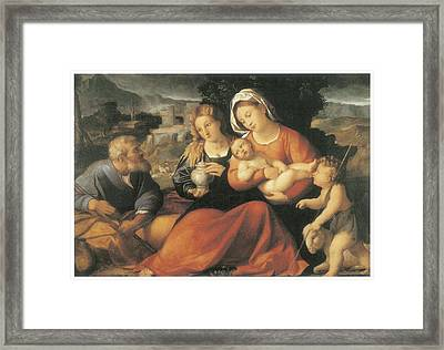 The Holy Family And Mary Magdalene Framed Print by Palma The Elder