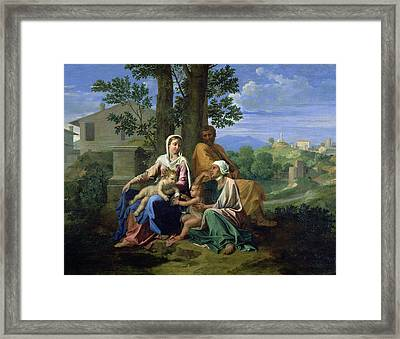 The Holy Family With Ss John Elizabeth And The Infant John The Baptist Framed Print by Nicolas Poussin
