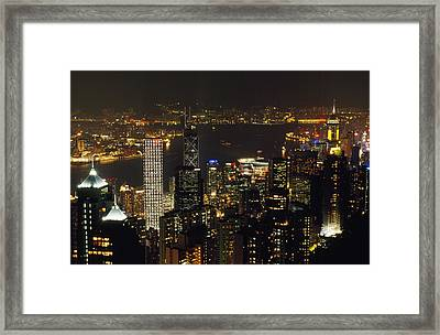 The Hong Kong Skyline Seen Framed Print by Justin Guariglia