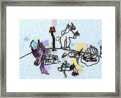 The Horses Picnic Framed Print by Odon Czintos