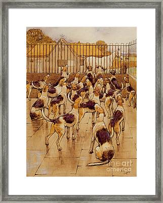 The Hounds Began Suddenly To Howl In Chorus  Framed Print by Cecil Charles Windsor Aldin