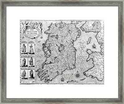 The Kingdom Of Ireland Framed Print by Jodocus Hondius