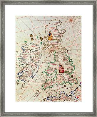 The Kingdoms Of England And Scotland Framed Print by Battista Agnese