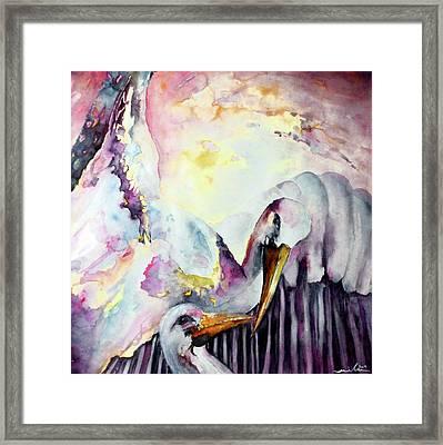 The Kiss Of Storks Framed Print by Miki De Goodaboom