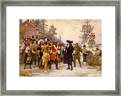 The Landing Of William Penn, 1682 Framed Print by Photo Researchers