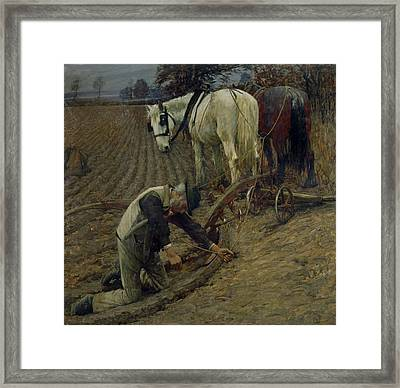 The Last Furrow Framed Print by Henry Herbert La Thangue