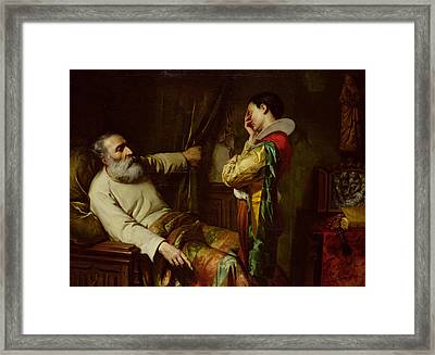 The Last Moments Of Christopher Columbus  Framed Print by Claude Jacquand