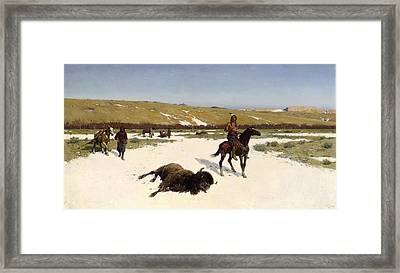 The Last Of The Herd Framed Print by Henry Francois Farny