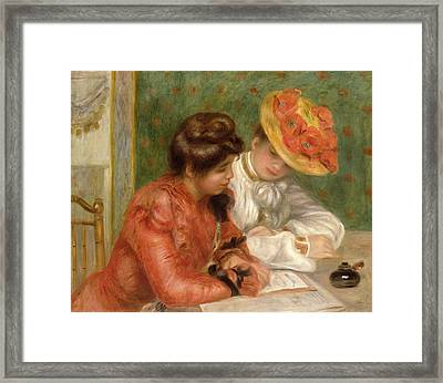 The Letter  Framed Print by Pierre Auguste Renoir