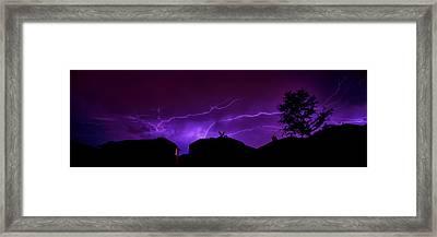 The Lightning Over Avery Neighborhood Framed Print by Lisa  Spencer
