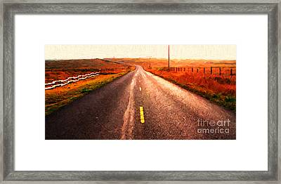 The Long Road Home . Painterly Style . Wide Size Framed Print by Wingsdomain Art and Photography