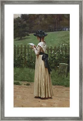 The Love Letter Framed Print by Edmund Blair Leighton