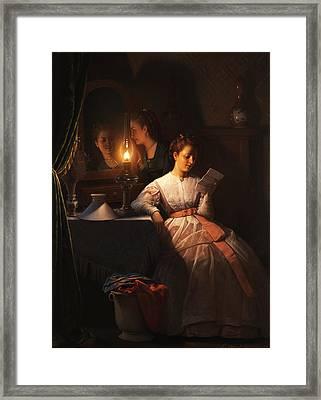 The Love Letter Framed Print by Petrus van Schendel