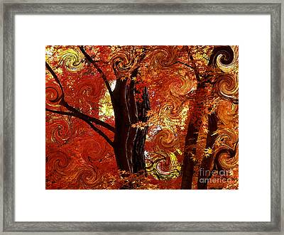 The Magic Of Autumn - Digital Abstract Framed Print by Carol Groenen