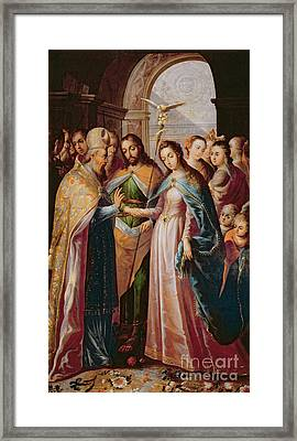 The Marriage Of Mary And Joseph Framed Print by Mexican School