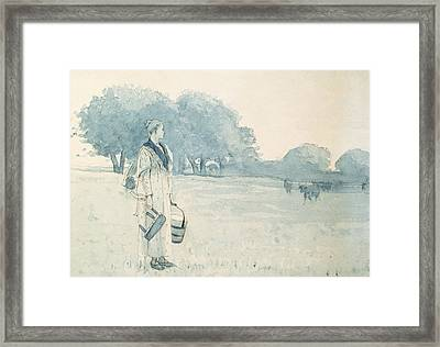 The Milkmaid Framed Print by Winslow Homer