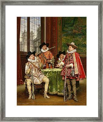 The Musketeer's Tale Framed Print by Adolphe Alexandre Lesrel