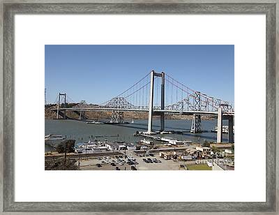 The New Alfred Zampa Memorial Bridge And The Old Carquinez Bridge . 5d16798 Framed Print by Wingsdomain Art and Photography