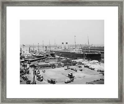 The Ocean Liner Baltic Moored Framed Print by Everett