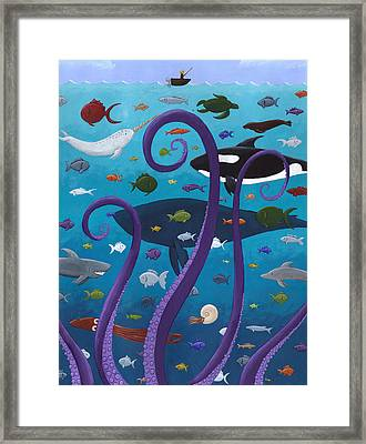 The Old Man And The Sea Monster Framed Print by Christy Beckwith