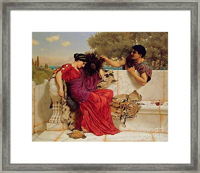 The Old Story Framed Print by John William Godward